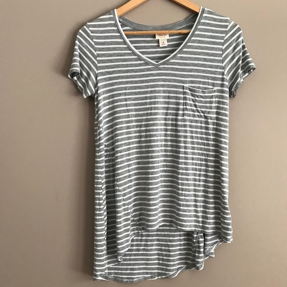 cc44895793fa8a Gray   White Striped High-Low Tee - V-Neck